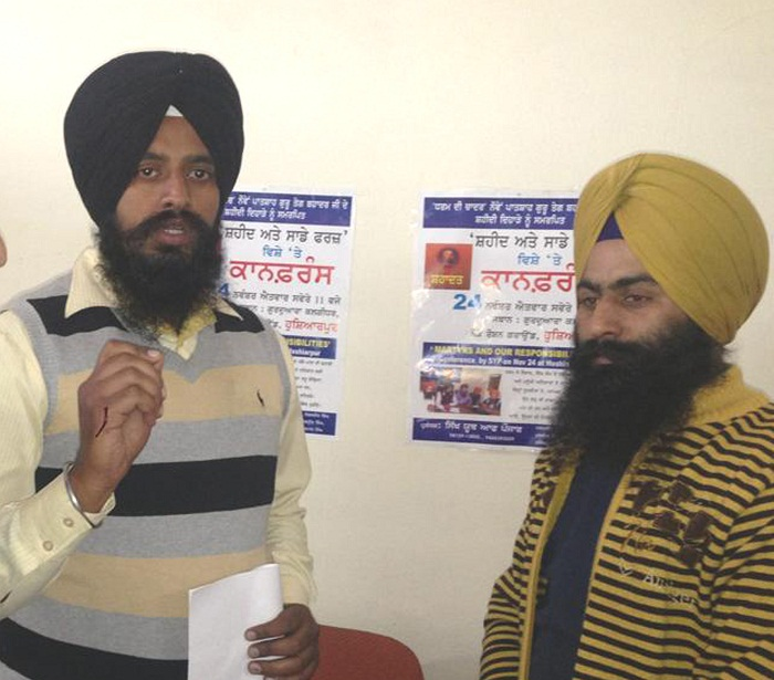 Dal Khalsa's youth wing leaders Paramjit Singh (L) and Manjit Singh (R)