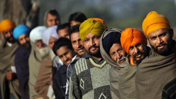 Election Polling Que in Punjab Sikhs