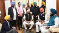 Punjab Chief Minister Capt Amarinder Singh meets with AAP MLAs at Punjab Vidhan sabha on Monday.  Tribune Photo Manoj Mahajan