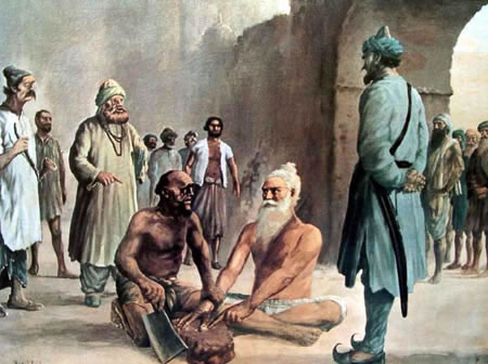 A portrait depicting martyrdom of Bhai Mani Singh Ji Shaheed